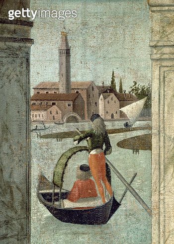 <b>Title</b> : The Arrival of the English Ambassadors, from the St. Ursula Cycle, detail of a gondola, 1490-96 (oil on canvas) (detail of 11943<br><b>Medium</b> : oil on canvas<br><b>Location</b> : Galleria dell' Accademia, Venice, Italy<br> - gettyimageskorea