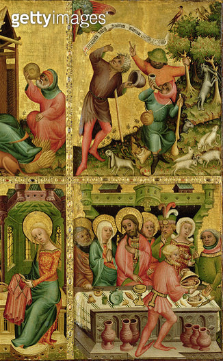 <b>Title</b> : The Annunciation to the Shepherds and the Marriage at Cana, from the right wing of the Buxtehude Altar, 1400-10 (tempera on oak)<br><b>Medium</b> : tempera on panel<br><b>Location</b> : Hamburger Kunsthalle, Hamburg, Germany<br> - gettyimageskorea