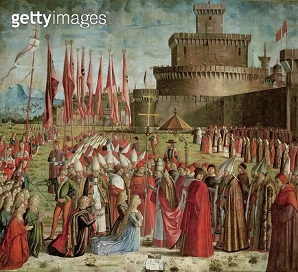 <b>Title</b> : The Pilgrims Meet Pope Cyriac before the Walls of Rome, from the St. Ursula Cycle, 1498 (oil on canvas)<br><b>Medium</b> : oil on canvas<br><b>Location</b> : Galleria dell' Accademia, Venice, Italy<br> - gettyimageskorea