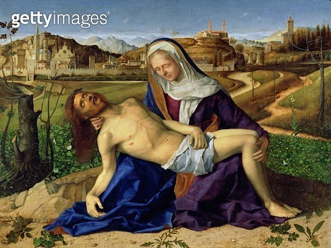 <b>Title</b> : Pieta, c.1505 (oil on panel)Additional InfoCathedral and Tower of Vicenza; bell tower of Sant'Apollinare Nuovo in Ravenna; views<br><b>Medium</b> : oil on panel<br><b>Location</b> : Galleria dell' Accademia, Venice, Italy<br> - gettyimageskorea