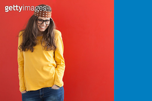 Young hippie woman on red-blue background - gettyimageskorea