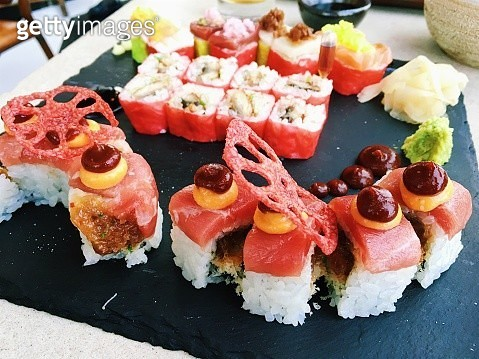 Close up of creative sushi rolls - gettyimageskorea