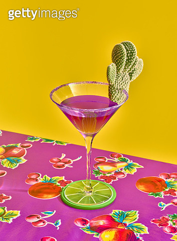 Purple margarita with cactus garnish - gettyimageskorea
