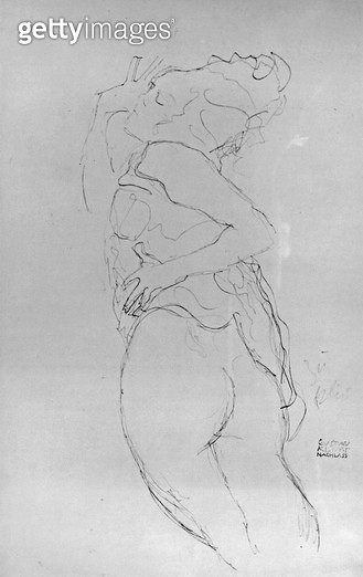 <b>Title</b> : Young Woman, 1917 (pencil on paper) (b/w photo)Additional InfoJunge Frau als Halbakt, mit Hochgezogenem Hemd; possibly study for<br><b>Medium</b> : pencil on paper<br><b>Location</b> : Private Collection<br> - gettyimageskorea