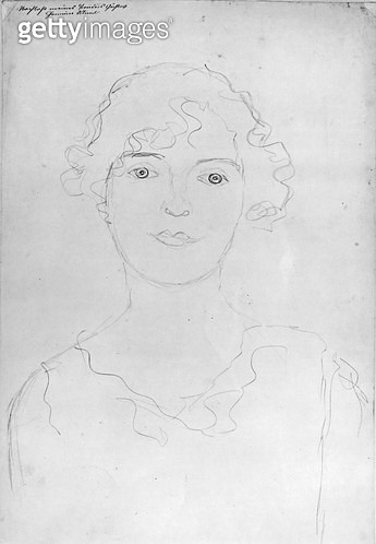 <b>Title</b> : Portrait of a Woman, 1916 (pencil on paper) (b/w photo)<br><b>Medium</b> : pencil on paper<br><b>Location</b> : Private Collection<br> - gettyimageskorea