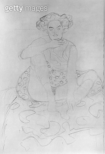 <b>Title</b> : Seated Woman, 1916 (pencil on Japan paper) (b/w photo)<br><b>Medium</b> : pencil on Japan paper<br><b>Location</b> : Private Collection<br> - gettyimageskorea