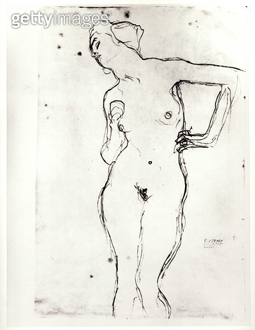 <b>Title</b> : Nude (pencil on paper) (b/w photo)<br><b>Medium</b> : pencil on paper<br><b>Location</b> : Private Collection<br> - gettyimageskorea