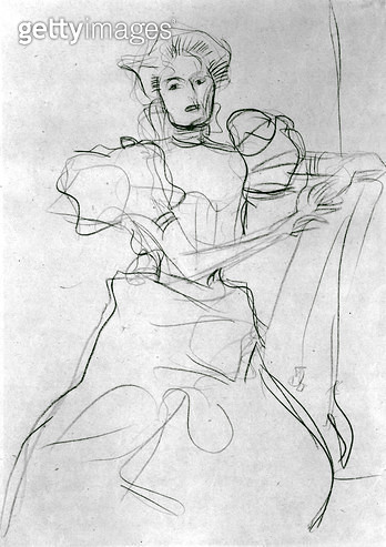 <b>Title</b> : Seated Woman - Study for a portrait of Sonja Knips, c.1898 (blue crayon on paper) (b/w photo)<br><b>Medium</b> : blue crayon on paper<br><b>Location</b> : Private Collection<br> - gettyimageskorea