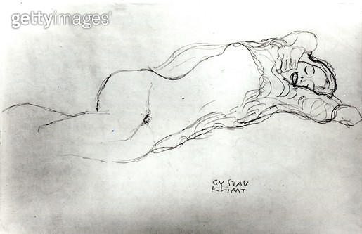 <b>Title</b> : Reclining Woman, c.1914 (pencil on paper) (b/w photo)<br><b>Medium</b> : pencil on paper<br><b>Location</b> : Private Collection<br> - gettyimageskorea