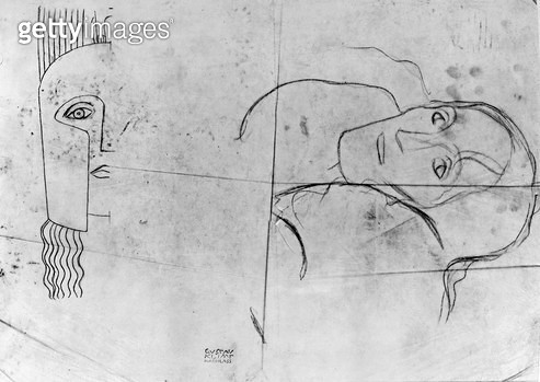 <b>Title</b> : Studies for Ver Sacrum 1900 - Pallas Athene and a Tragic Head, 1897-98 (pencil and blue crayon on tracing paper) (b/w photo)<br><b>Medium</b> : pencil and blue crayon on tracing paper<br><b>Location</b> : Private Collection<br> - gettyimageskorea