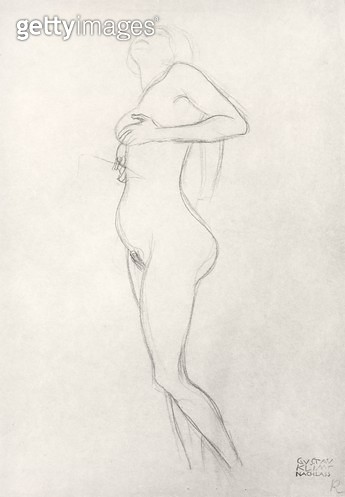 <b>Title</b> : Standing Nude Girl Looking Up (charcoal on brown paper) (b/w photo)<br><b>Medium</b> : charcoal on brown paper<br><b>Location</b> : Private Collection<br> - gettyimageskorea