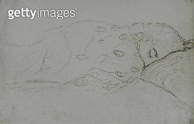 <b>Title</b> : Sleeping Nude, 1916-17 (pencil and coloured crayons on paper) (b/w photo)<br><b>Medium</b> : pencil and coloured crayons on paper<br><b>Location</b> : Private Collection<br> - gettyimageskorea
