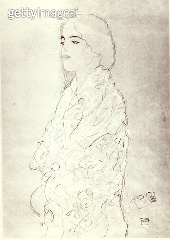 <b>Title</b> : Standing Robed Lady, c.1916 (pencil on paper) (b/w photo)<br><b>Medium</b> : pencil on paper<br><b>Location</b> : Private Collection<br> - gettyimageskorea