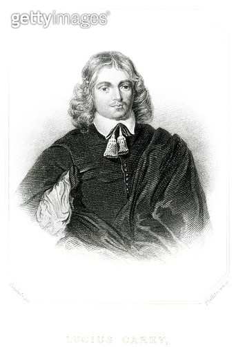 <b>Title</b> : Lucius Carey (c.1610-43) illustration from 'Portraits of Characters Illustrious in British History', engraved by Thomas Phillibrown (fl.1834-60) (mezzotint) (b/w photo)<br><b>Medium</b> : mezzotint<br><b>Location</b> : Private Collection<br - gettyimageskorea