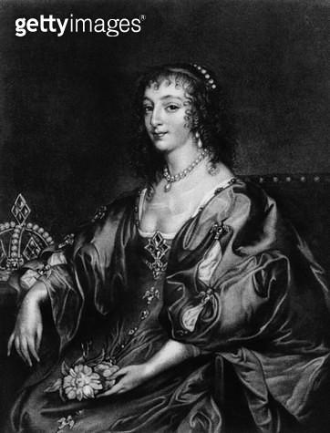 <b>Title</b> : Henrietta Maria (1609-69), illustration from  'Portraits of Characters Illustrious in British History', (mezzotint) (b/w photo)]<br><b>Medium</b> : mezzotint<br><b>Location</b> : Private Collection<br> - gettyimageskorea