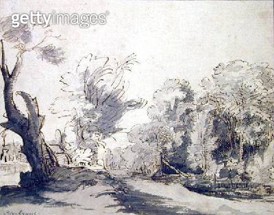 <b>Title</b> : Landscape (pen and ink and wash on paper)<br><b>Medium</b> : pen and ink wash on paper<br><b>Location</b> : Hamburger Kunsthalle, Hamburg, Germany<br> - gettyimageskorea