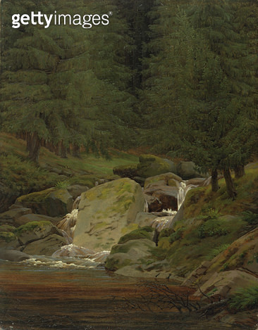 <b>Title</b> : The Evergreens by the Waterfall (oil on canvas)<br><b>Medium</b> : oil on canvas<br><b>Location</b> : Hamburger Kunsthalle, Hamburg, Germany<br> - gettyimageskorea
