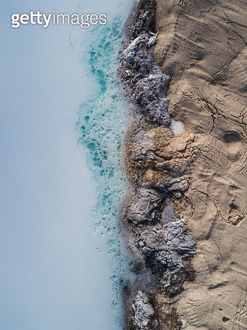 Edge of a mining pond shot from directly above, France - gettyimageskorea