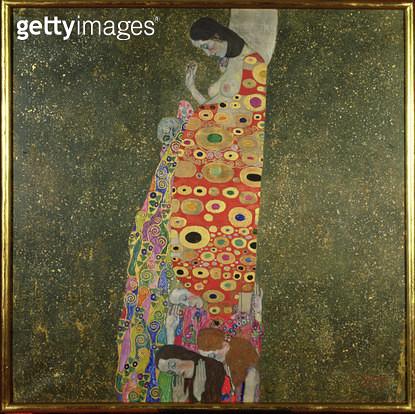 <b>Title</b> : Die Hoffnung II (Hope II) 1907-08 (oil and gold paint on canvas)<br><b>Medium</b> : oil on canvas<br><b>Location</b> : Fischer Fine Art Ltd., London, UK<br> - gettyimageskorea