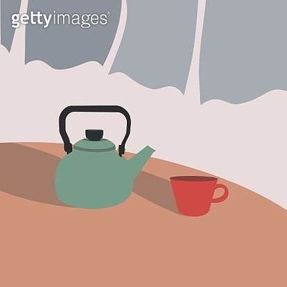 Cup of tea with kettle. - gettyimageskorea