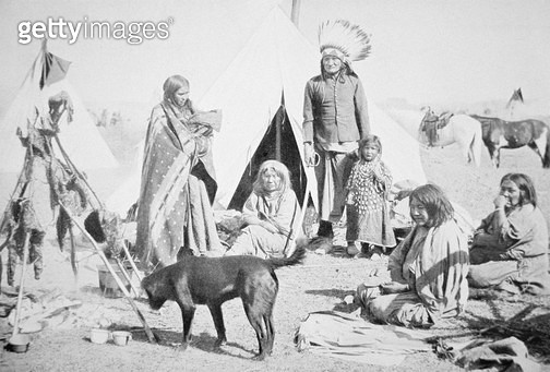 <b>Title</b> : The Sioux Reservation at Pine Ridge, South Dakota, c.1890 (b/w photo)Additional Infogovernment issue tent & utensils;<br><b>Medium</b> : black and white photograph<br><b>Location</b> : Private Collection<br> - gettyimageskorea