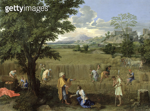 <b>Title</b> : Summer, or Ruth and Boaz, 1660-64 (oil on canvas)<br><b>Medium</b> : oil on canvas<br><b>Location</b> : Louvre, Paris, France<br> - gettyimageskorea