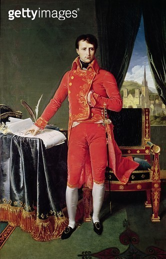 <b>Title</b> : Bonaparte as First Consul, 1804 (oil on canvas)Additional Infopointing to an August 1803 decree designating 300,000 francs for t<br><b>Medium</b> : oil on canvas<br><b>Location</b> : Musee d'Art Moderne et d'Art Contemporain, Liege, Belgium - gettyimageskorea