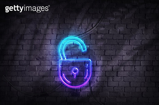 unlock padlock in neon lights - gettyimageskorea