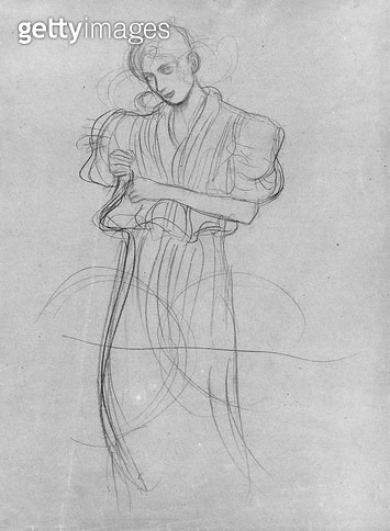 <b>Title</b> : Standing Robed Woman, 1903 (pencil on paper) (b/w photo)<br><b>Medium</b> : pencil on paper<br><b>Location</b> : Private Collection<br> - gettyimageskorea