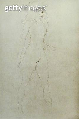 <b>Title</b> : Standing Nude (verso), (pencil on paper) (b/w photo)<br><b>Medium</b> : pencil on paper<br><b>Location</b> : Private Collection<br> - gettyimageskorea