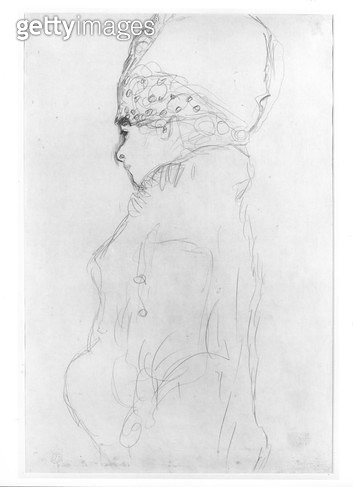 <b>Title</b> : Lady with a Tall Hat, c.1917, (pencil on paper) (b/w photo)<br><b>Medium</b> : pencil on paper<br><b>Location</b> : Private Collection<br> - gettyimageskorea