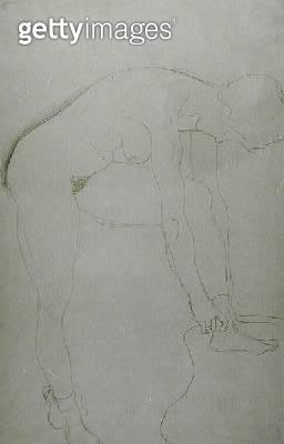 <b>Title</b> : Standing Nude with Raised Legs, c.1907 (pencil on Japan paper) (b/w photo)<br><b>Medium</b> : pencil on Japan paper<br><b>Location</b> : Private Collection<br> - gettyimageskorea