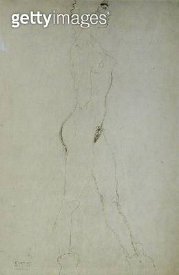 <b>Title</b> : Standing Nude, (pencil on paper) (b/w photo)<br><b>Medium</b> : pencil on paper<br><b>Location</b> : Private Collection<br> - gettyimageskorea