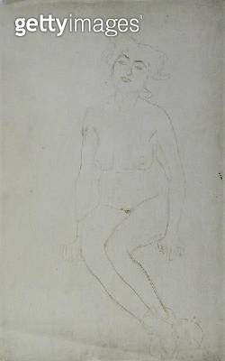 <b>Title</b> : Nude Woman Seated, c.1903 (pencil and red crayon on Japan paper) (b/w photo)<br><b>Medium</b> : pencil and red crayon on Japan paper<br><b>Location</b> : Private Collection<br> - gettyimageskorea