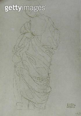 <b>Title</b> : Robed Standing Woman Holding Card, (pencil on brown paper) (b/w photo)<br><b>Medium</b> : pencil on brown paper<br><b>Location</b> : Private Collection<br> - gettyimageskorea