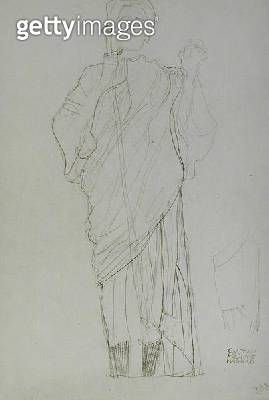 <b>Title</b> : Standing Woman Holding Sword, (pencil on brown paper) (b/w photo)<br><b>Medium</b> : pencil on brown paper<br><b>Location</b> : Private Collection<br> - gettyimageskorea