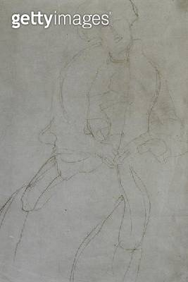 <b>Title</b> : Seated Woman with Boa (Adele Bloch-Bauer), (pencil on paper) (b/w photo)<br><b>Medium</b> : pencil on paper<br><b>Location</b> : Private Collection<br> - gettyimageskorea