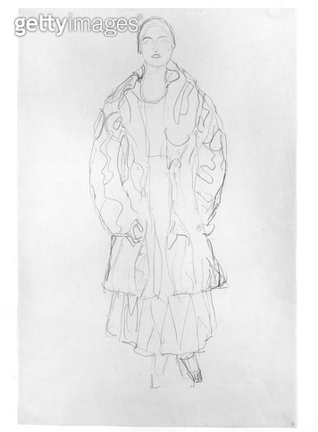 <b>Title</b> : Standing Woman with Coat, 1916 (pencil on paper) (b/w photo)<br><b>Medium</b> : pencil on paper<br><b>Location</b> : Private Collection<br> - gettyimageskorea