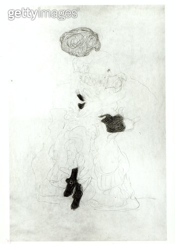 <b>Title</b> : Seated Woman, (pencil with white chalk on paper) (b/w photo)<br><b>Medium</b> : pencil with white chalk on paper<br><b>Location</b> : Private Collection<br> - gettyimageskorea