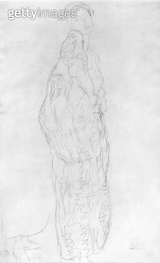 <b>Title</b> : Robed Standing Lady, c.1916 (pencil on paper) (b/w photo)<br><b>Medium</b> : pencil on paper<br><b>Location</b> : Private Collection<br> - gettyimageskorea