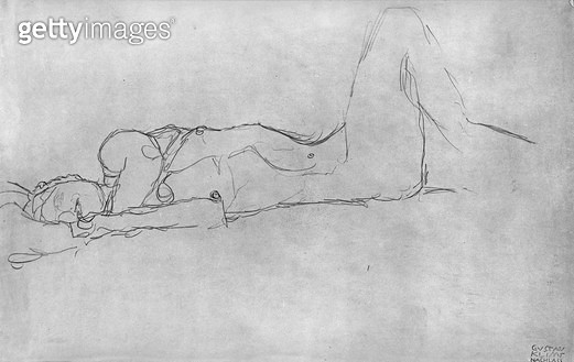 <b>Title</b> : Reclining Female Nude, c.1914 (pencil on paper) (b/w photo)<br><b>Medium</b> : pencil on paper<br><b>Location</b> : Private Collection<br> - gettyimageskorea