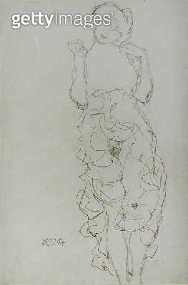 <b>Title</b> : Standing Nude with Arms Raised, c.1917/18 (pencil on paper) (b/w photo)<br><b>Medium</b> : pencil on paper<br><b>Location</b> : Private Collection<br> - gettyimageskorea