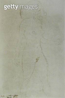 <b>Title</b> : Standing Nude (pencil on paper) (b/w photo)<br><b>Medium</b> : pencil on paper<br><b>Location</b> : Private Collection<br> - gettyimageskorea