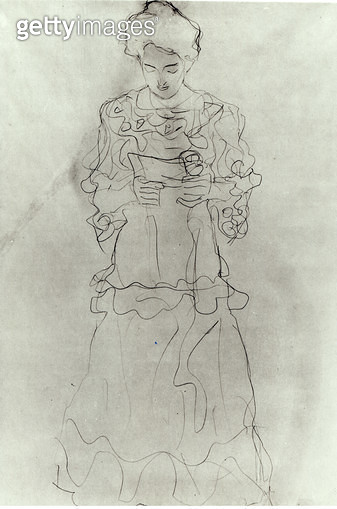<b>Title</b> : Girl Reading I, (pencil on paper) (b/w photo)<br><b>Medium</b> : pencil on paper<br><b>Location</b> : Private Collection<br> - gettyimageskorea