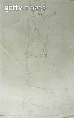 <b>Title</b> : Standing Woman with Raised Hands, 1907-08 (pencil on Japan paper) (b/w photo)<br><b>Medium</b> : pencil on Japan paper<br><b>Location</b> : Private Collection<br> - gettyimageskorea