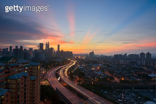 High Angle View Of City At Dusk - gettyimageskorea