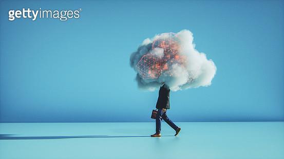 Humorous mobile cloud computing conceptual image - gettyimageskorea
