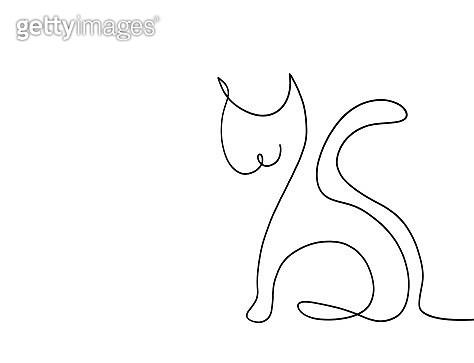 Single line drawing of cat animal - gettyimageskorea