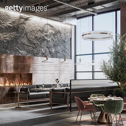 Interior of a beautiful restaurant in 3D render - gettyimageskorea