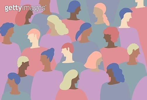 Beauty, group, people, pastel, not like a human skin colors, beauty, dyed hair, backgrounds, diversity - gettyimageskorea